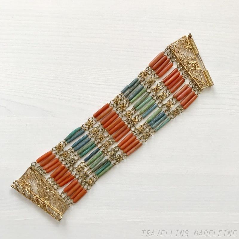 ART DECO Egyptian Rivival Coral & Blue Beads Bracelet エジプトスタイル コーラル&ブルービーズ ブレスレット(W18-202Br)