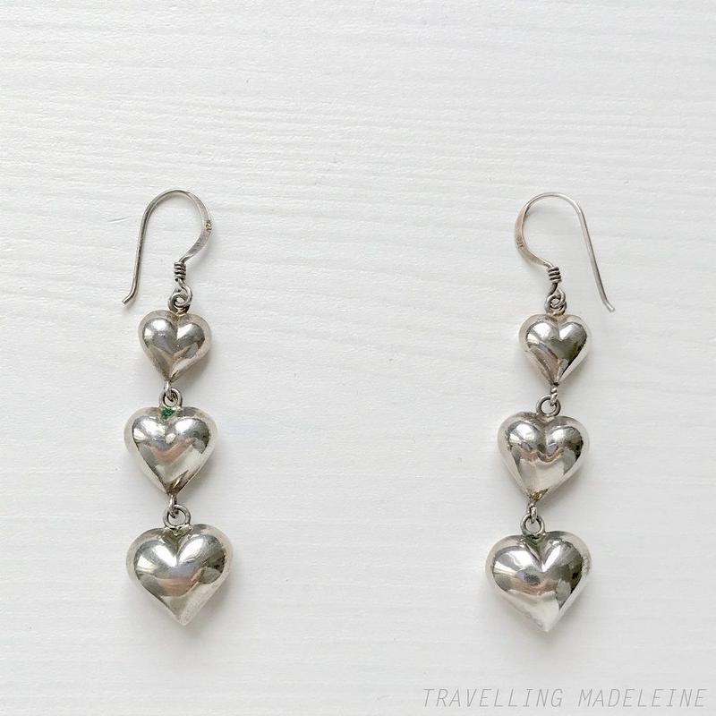 VINTAGE Silver Triple Hearts Pierced Earrings シルバー ハート3連 ピアス(Sp19-163E)