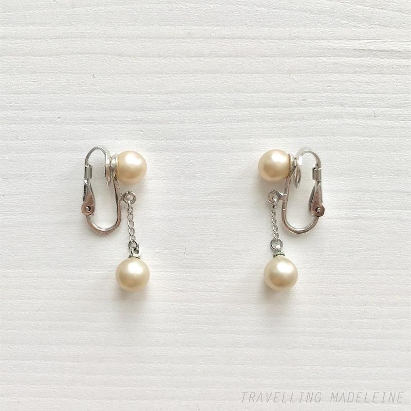 TRIFARI 1940-50's Small Pearls Dangle Drop Clip Earrings スモールパール ドロップ クリップイヤリング(Su19-69E)