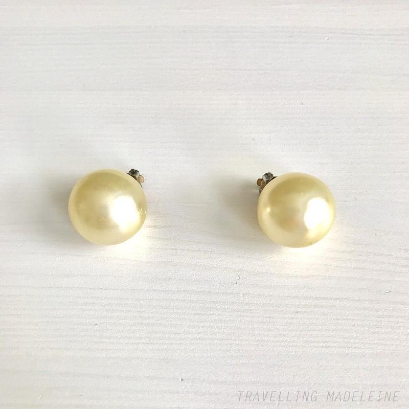 1950-60's Ivory Big Pearl 22mm Clip Earrings アイボリービッグパール クリップイヤリング(Su19-220E)