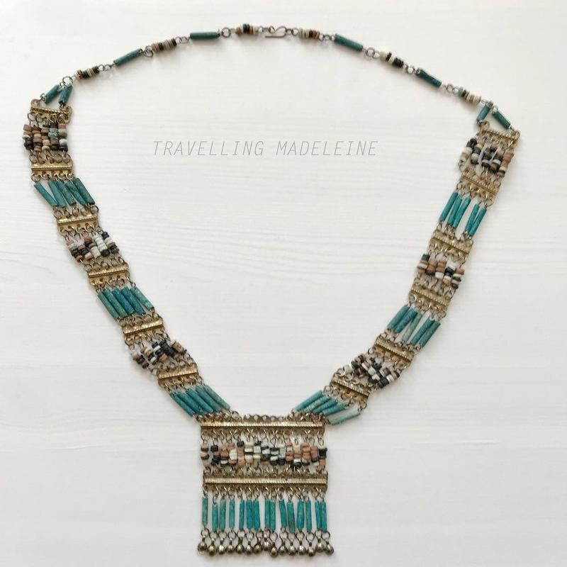 1940's Egyptian Revival Blue & Earth Coloured Beads Long Necklace エジプトスタイル ロング ネックレス(W18-268N)