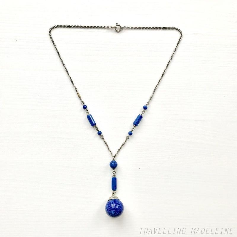 ART DECO Lapis Lazuli Glass Ball Necklace ラピス・ラズリ グラスボール ネックレス(Su18-158N)