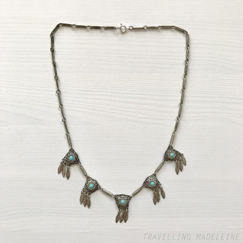 1960's Silver Tassel & Turquoise  Necklace シルバータッセル & ターコイズグラス ネックレス(W18-277N)