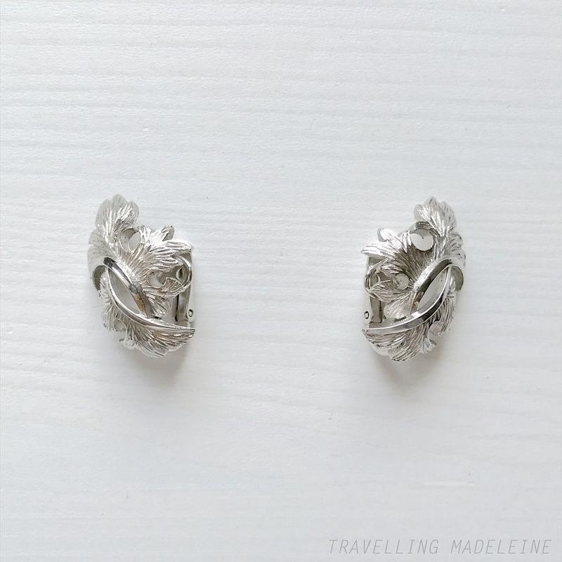 TRIFARI 1950-60's Silver Leaf Clip Earrings シルバーリーフ クリップイヤリング (Sp19-79E)