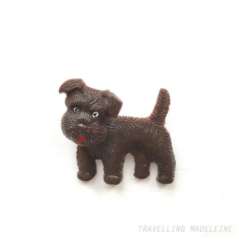 1930-40's Movable Head Brown Terrier Dog Celluloid Brooch 首ふり ブラウンテリア セルロイド ブローチ(Sp19-47B)