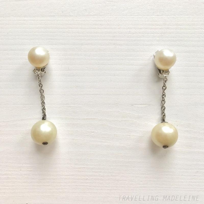 1940-50's Pearl Dangle Drop Clip Earrings パール ドロップ クリップイヤリング(Sp19-54E)