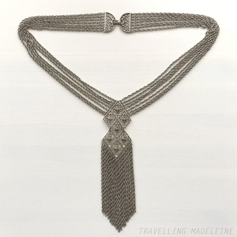 VINTAGE Silver Chain Necklace with Filiglee Diamond Panels シルバートーン チェーンネックレス(Su19-8N)