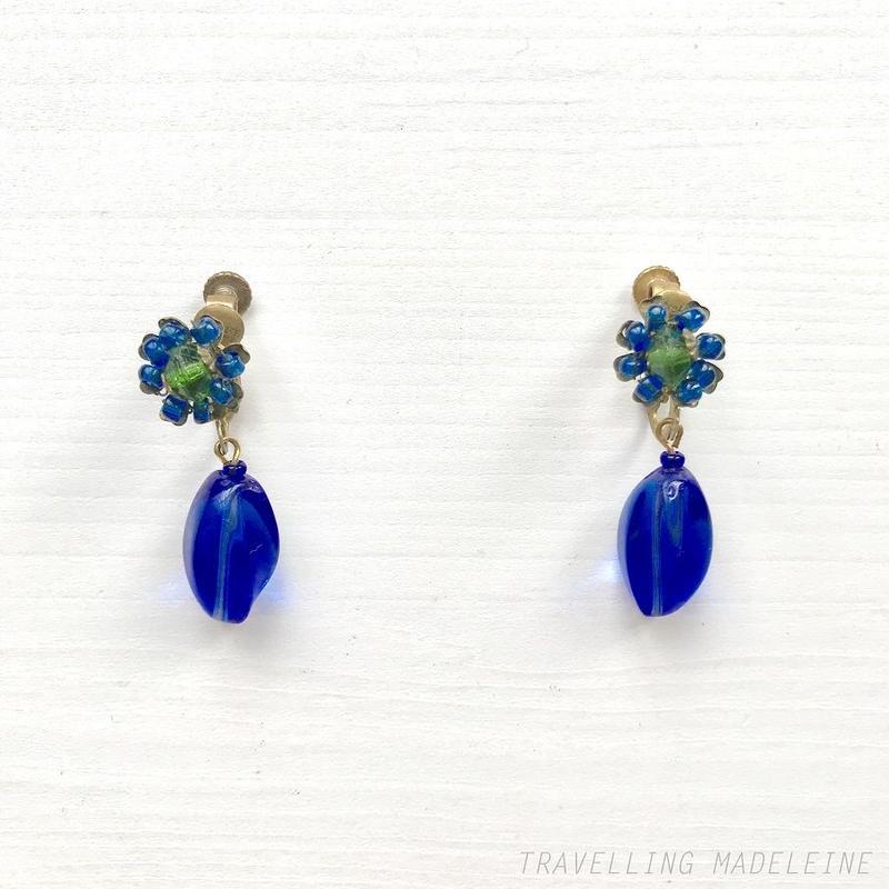 MIRIAM HASKELL 1950's Blue Glass Beads Flower Drop Clip Earrings ブルーグラス フラワー ドロップ クリップイヤリング
