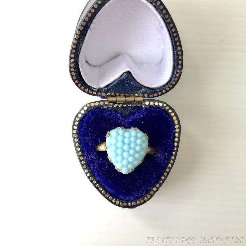 ANTIQUE Turquoise Glass Heart Ring つぶつぶ ターコイズグラス ハート リング(Su19-228R)