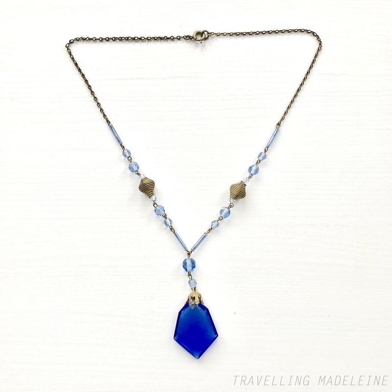 ART DECO Czech Glass Blue Diamond Necklace チェコグラス ブルー ダイヤ型 ネックレス(Su18-65N)