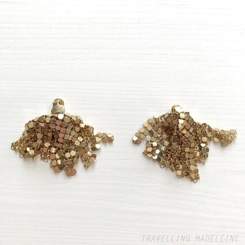 VENDOME VINTAGE Gold Metal Mesh Drape Clip Earrings ゴールド メタルメッシュ ドレープ クリップイヤリング(W18-383E)