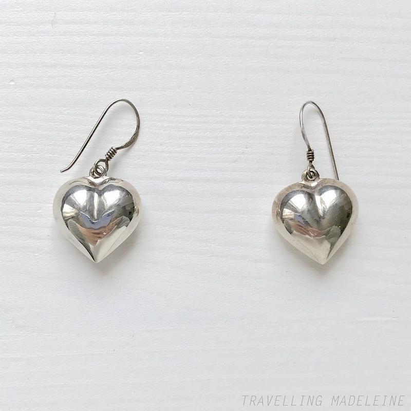 VINTAGE Silver Single Heart Pierced Earrings シルバー シングルハート ピアス(Sp19-162E)