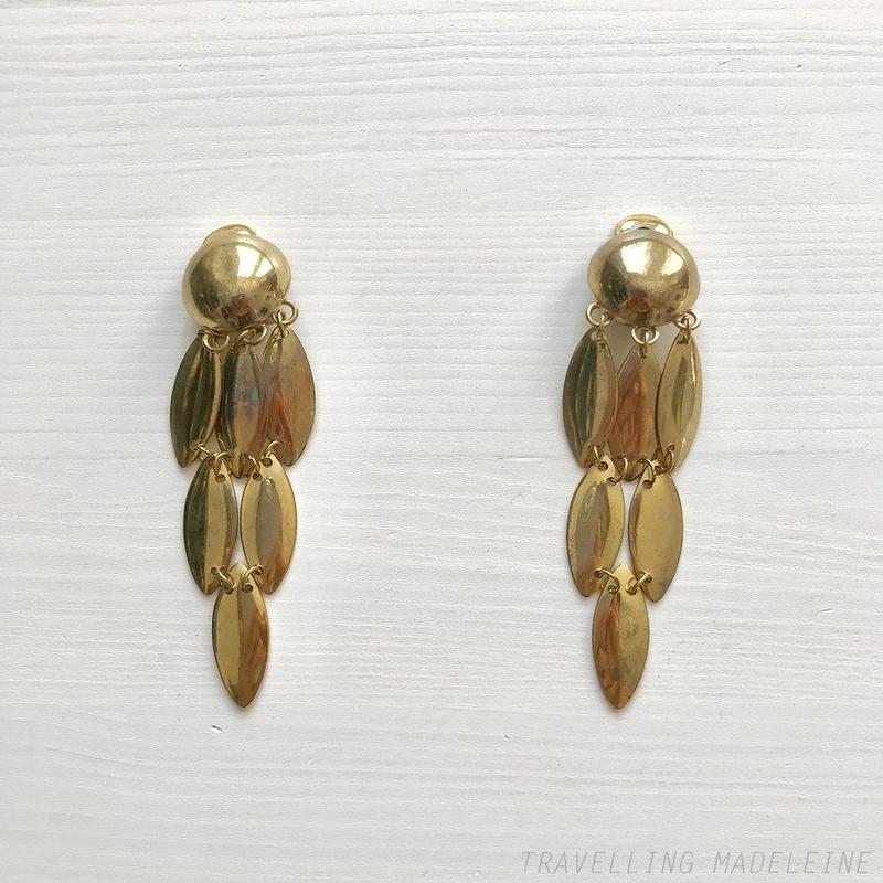 VINTAGE Gold Marquise Plate Fringe Clip Earrings ゴールド マーキスプレート フリンジ クリップイヤリング(W18-341E)