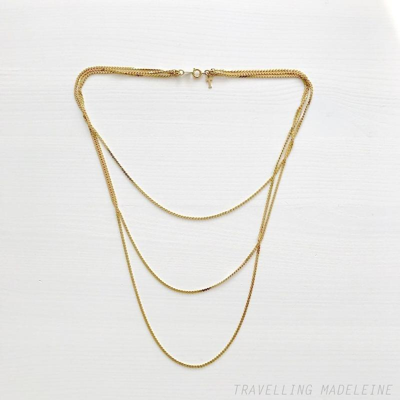 TRIFARI 1970-80's Gold Triple Chain Necklace ゴールド 3連チェーン ネックレス(A18-86N)
