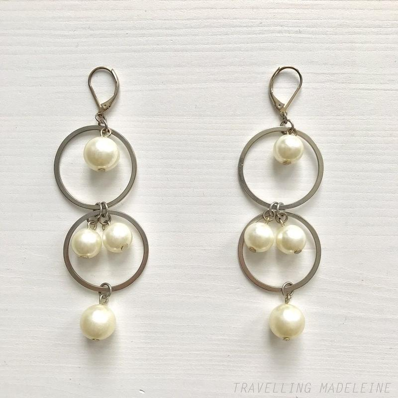 1960's Double Silver Rings and Pearls Pierced Earrings パール&リング ピアス(Su19-36E)