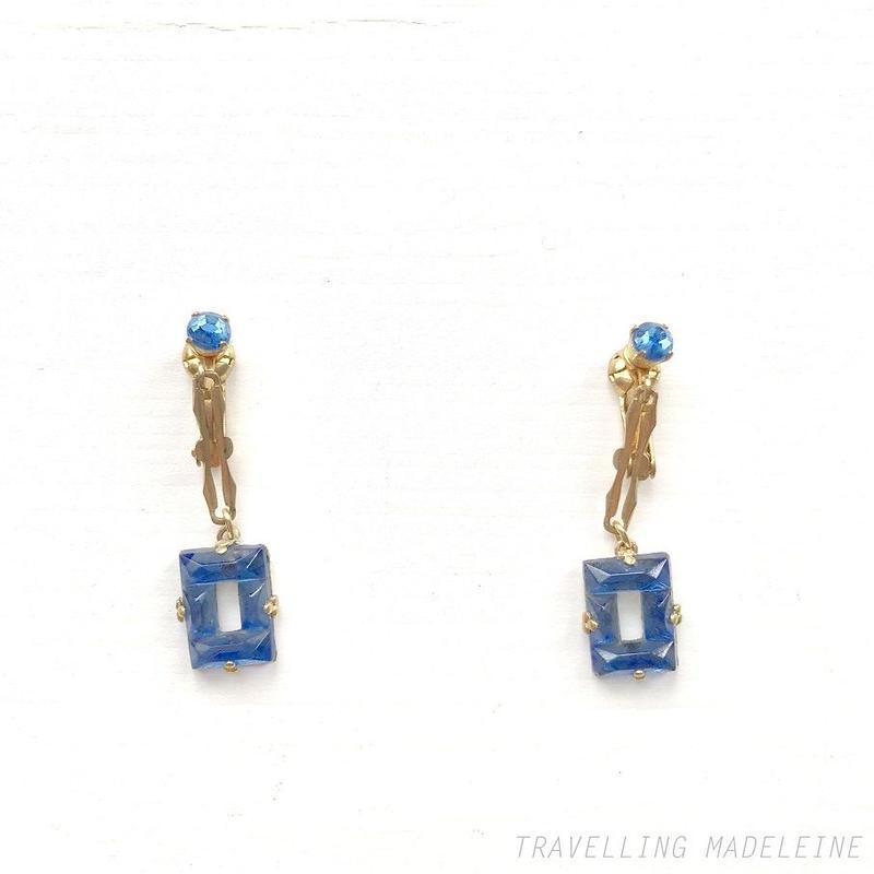 ART DECO Blue Square Mirror Glass Drop Clip Earrings ブルースクエア ミラーグラス ドロップ クリップイヤリング(Su18-256E)