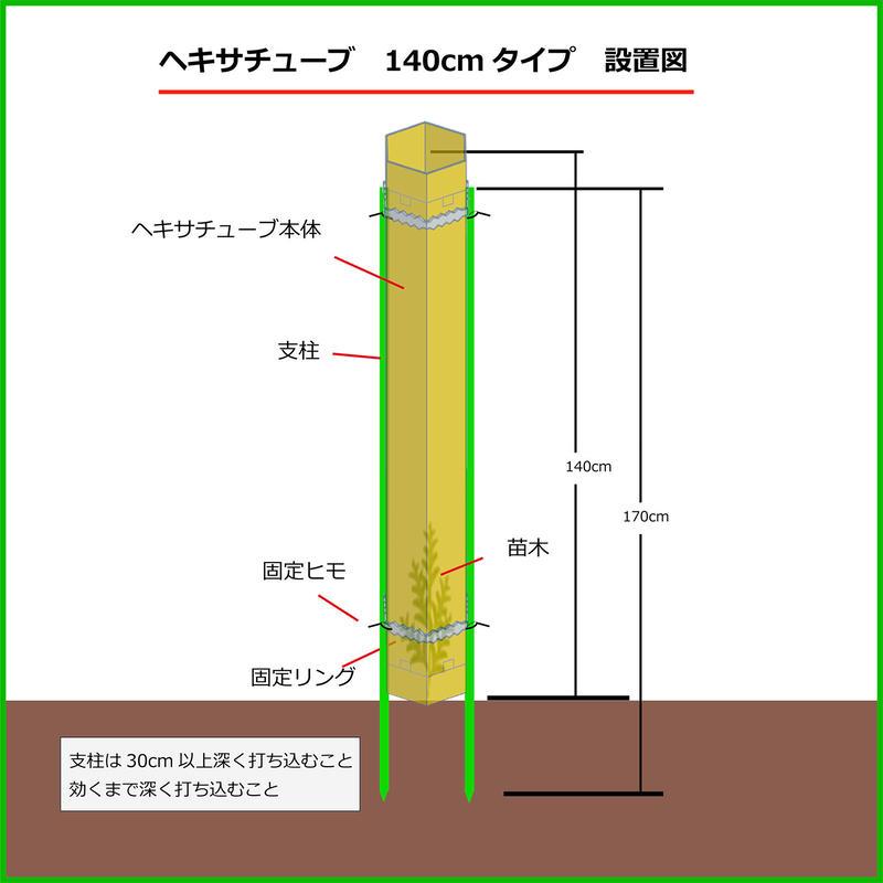 ヘキサチューブ 140cmタイプ 10セット シカ食害防止用