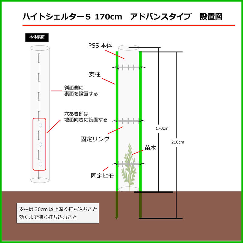 ハイトシェルターS170cm アドバンスタイプ 10セット シカ等食害防止用