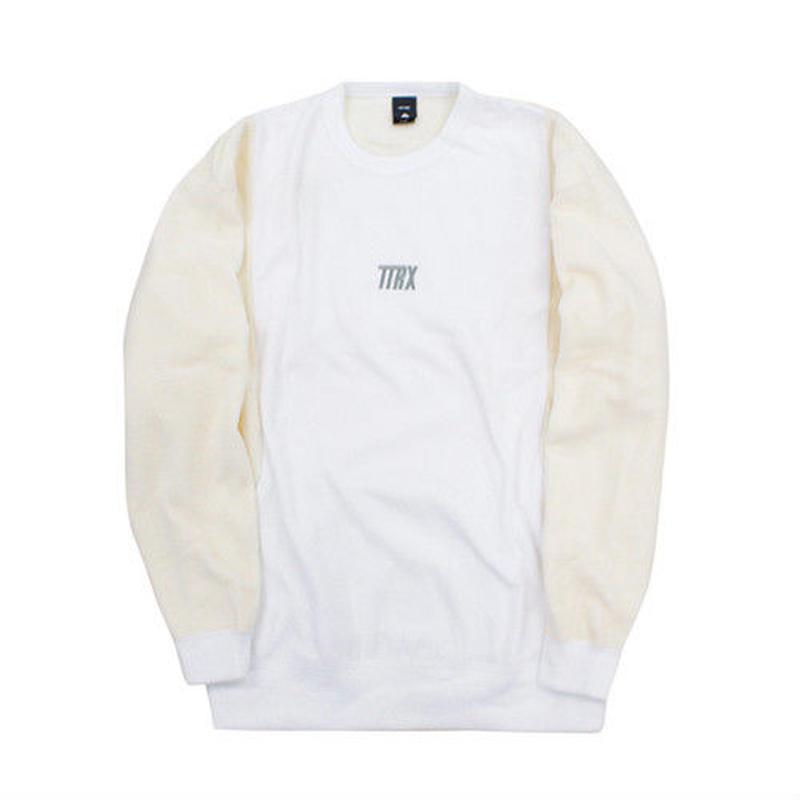 [TREKKIE TRAX × THE TEST] Fleece Crewneck Tops (White)