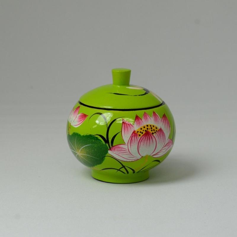 ベトナム製 小物入れ漆器 (小)【黄緑】