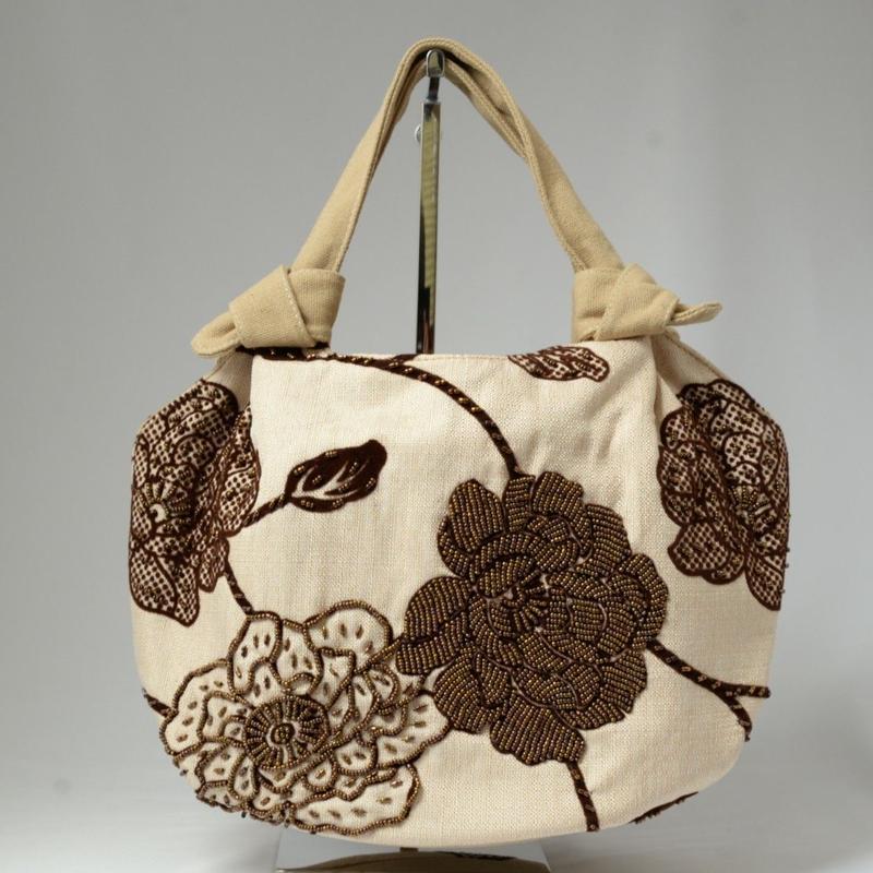 ベトナム製 ハンドメイド 花柄ビーズバッグ 【ベージュ×茶】