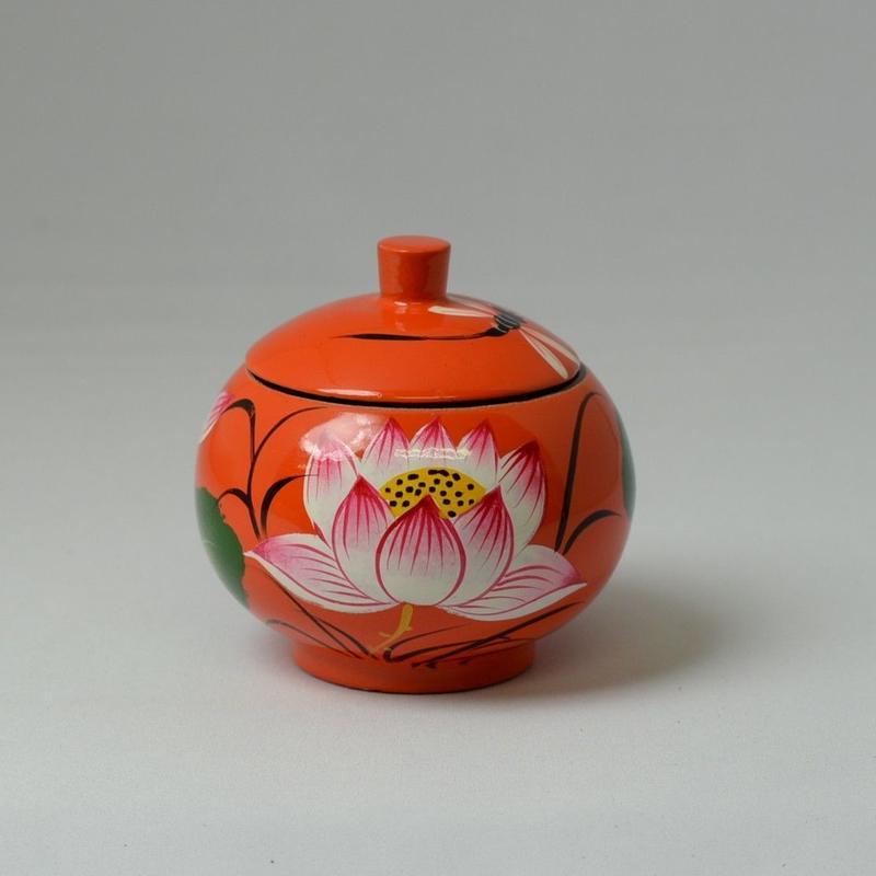ベトナム製 小物入れ漆器 (小)【蓮柄・橙】
