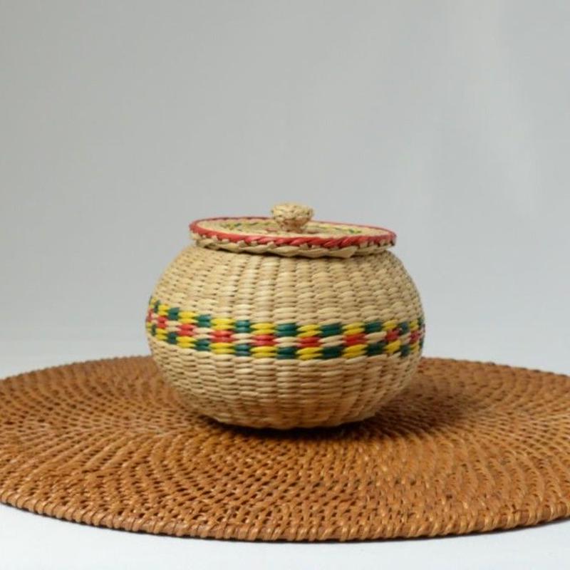 ベトナム製 い草 小物入れ (丸)Sサイズ