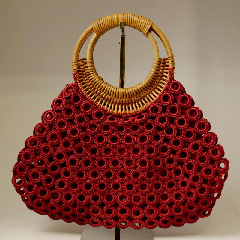 ベトナム製 ハンドメイド リング編み ハンドバッグ 【紅】