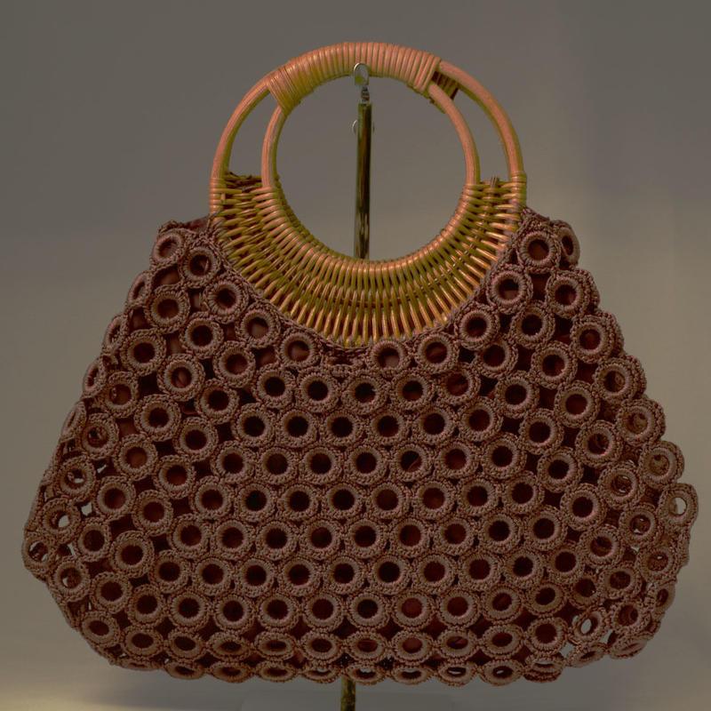 ベトナム製 ハンドメイド リング編み ハンドバッグ 【焦茶】