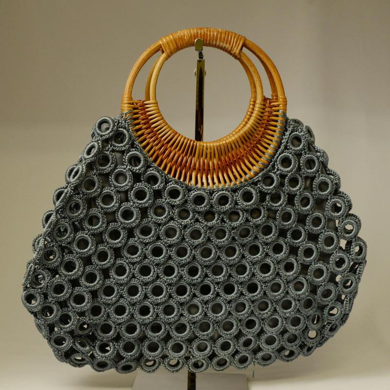 ベトナム製 ハンドメイド リング編み ハンドバッグ 【グレー】
