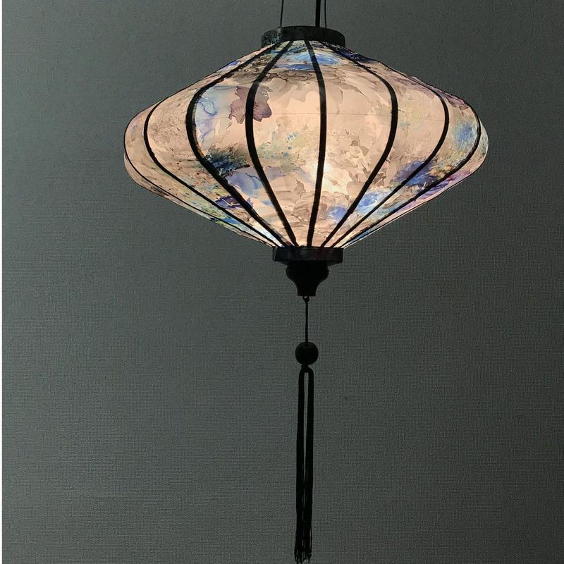 ベトナムランタン 円盤形 Lサイズ メタリック調ブルー【花柄】