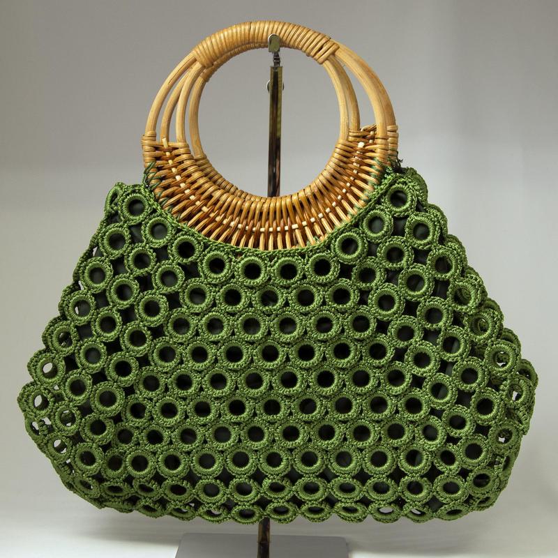 ベトナム製 ハンドメイド リング編み ハンドバッグ 【深緑】