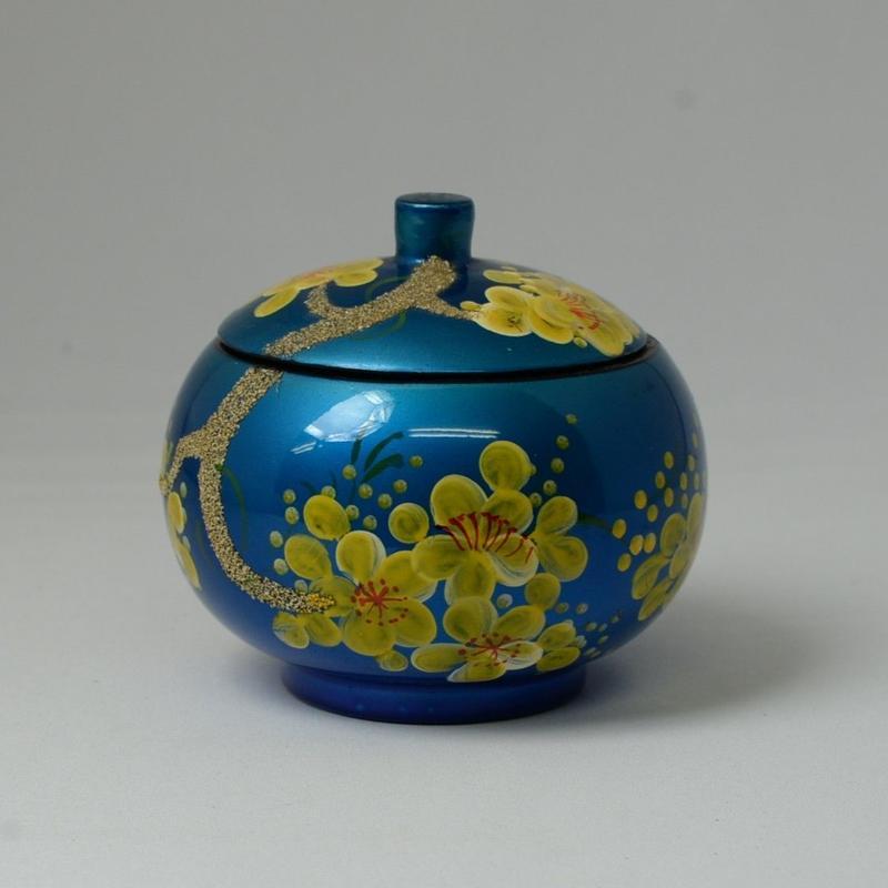 ベトナム製 小物入れ漆器 (大)【梅柄・青】