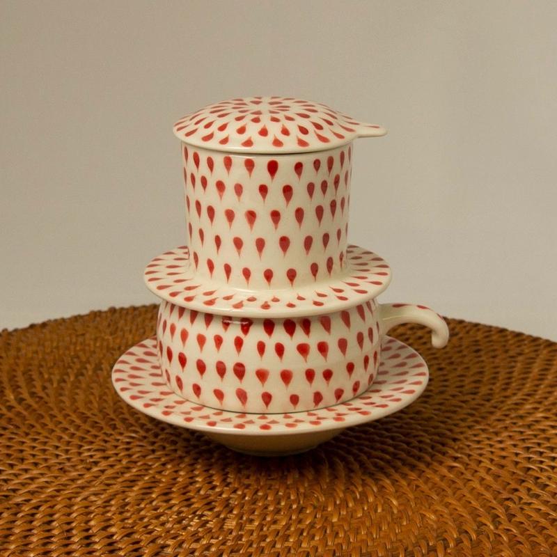 ベトナム式 コーヒーフィルター付き カップ&ソーサー【赤】