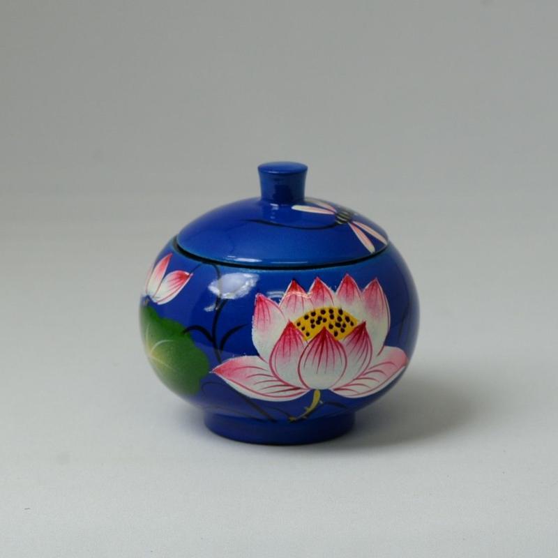 ベトナム製 小物入れ漆器 (小)【蓮柄・青】