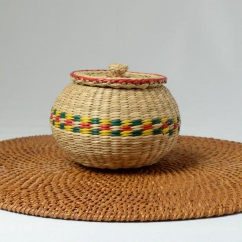 ベトナム製 い草 小物入れ (丸)Mサイズ
