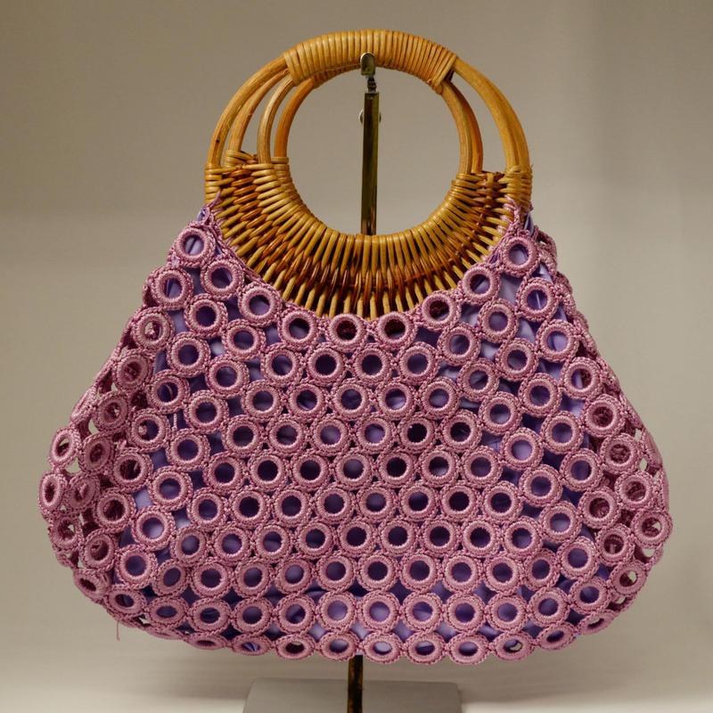 ベトナム製 ハンドメイド リング編み ハンドバッグ 【紅藤】