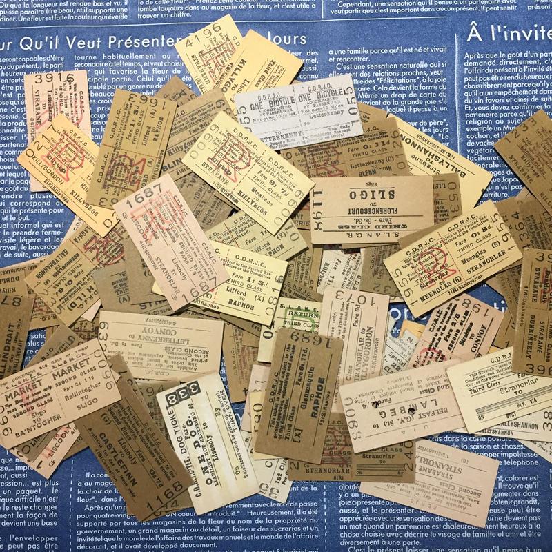 【アイルランド】最終販売 使用済み鉄道切符 おまかせソート ブラウン系 30枚