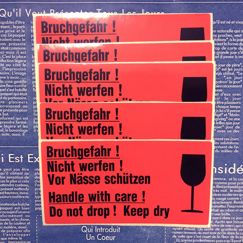 【ドイツ】注意喚起ステッカー「取り扱い注意」10片