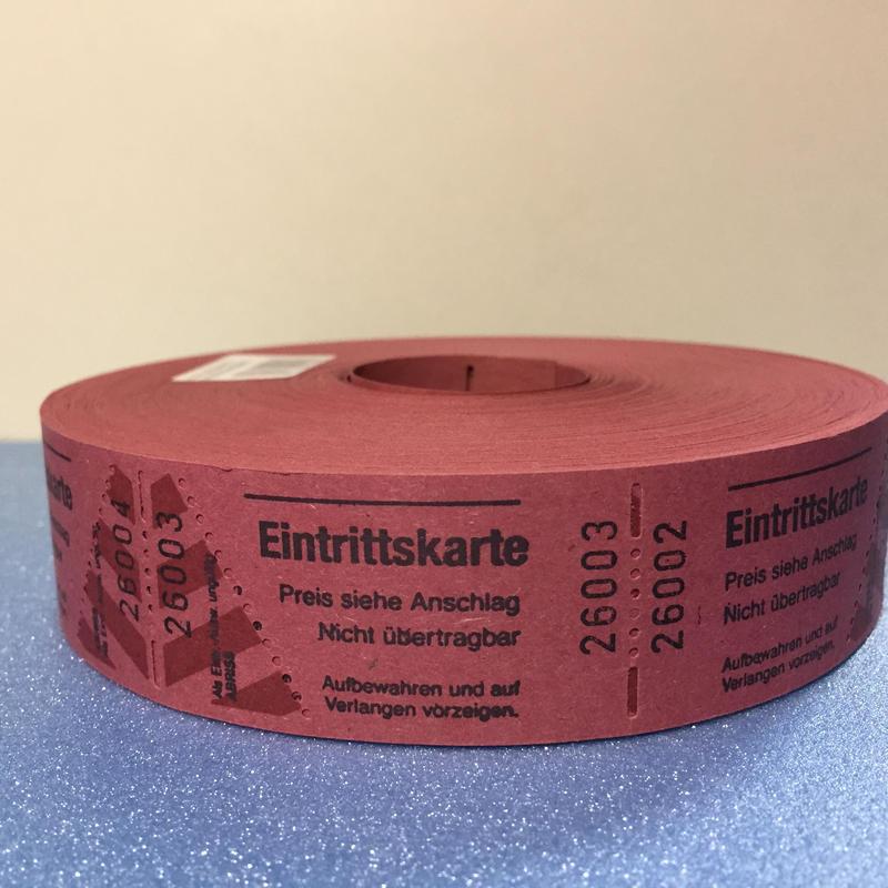 【ドイツ】Eingrittskarte(入場券)チケット レッド 1ロール(1000片)
