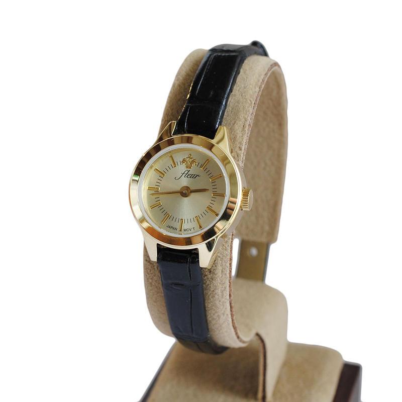 fleur:フル―ル 《F001 - GOLD/BLACK》腕時計 レザーベルト