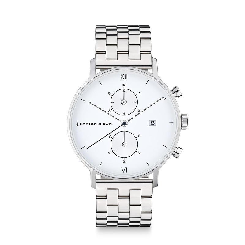KAPTEN&SON:キャプテン&サン《Chrono (40mm) SILVER Steel White》腕時計 メタルバンド