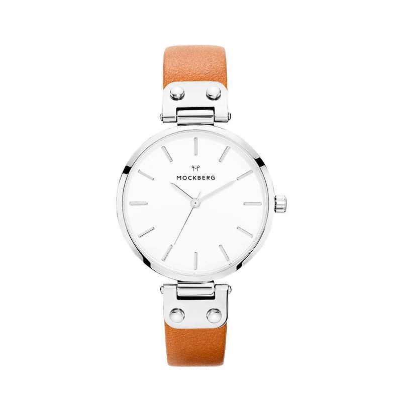 MOCKBERG:モックバーグ《MO1006 WERA Silver/White/Light Brown》腕時計 レザーバンド