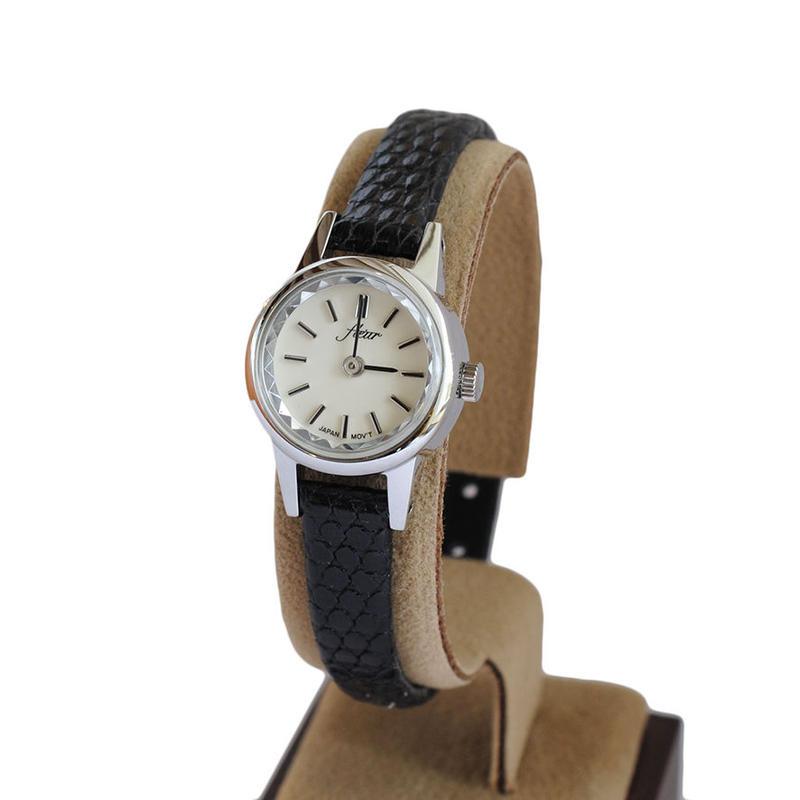 fleur:フル―ル 《F002 - SILVER/BLACK》腕時計 リザードベルト