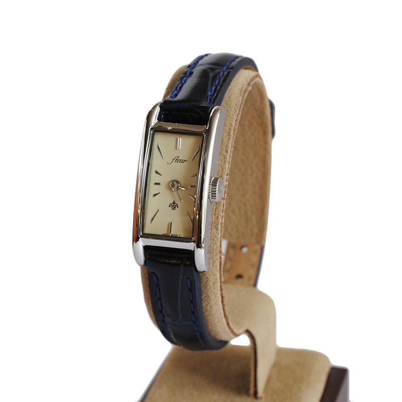 fleur:フル―ル 《F005 - SILVER/NAVY》腕時計 レザーベルト