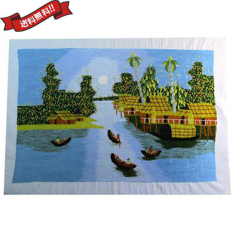刺繍絵 アート ハンドメイド 芸術 作品 ベトナム 雑貨 水上生活の人々 vi0026