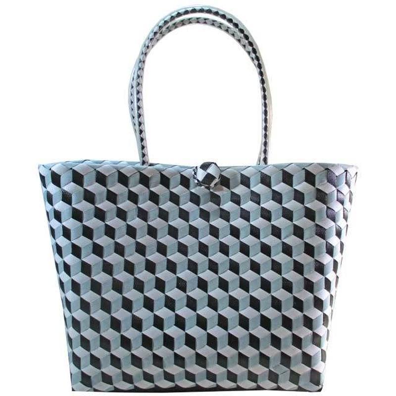 プラスチック かごバッグ ネイビー×グレー×ホワイト プラかご 軽量 大きい ベトナム 雑貨 v1180
