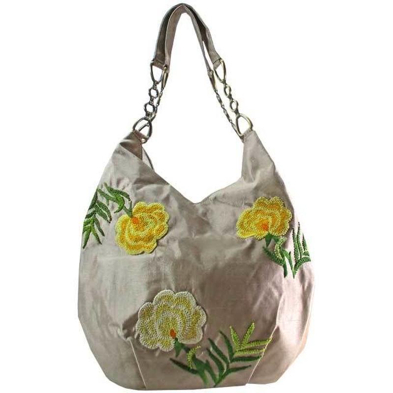 刺繍バッグ レディース  シャンパンベージュ フラワー フレンチナッツ トート ベトナム 雑貨 かわいい シルク v1242