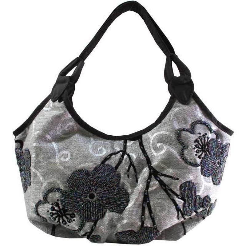 ビーズ刺繍 バッグ 花柄 フラワー レディース シルバーグレー 布製 ベトナム v1174