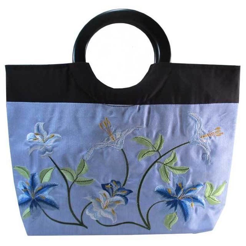 トートバッグ レディース ライトブルー 刺繍 ユリ リリー 和風 着物 花柄 デイジー ベトナム雑貨 v1175